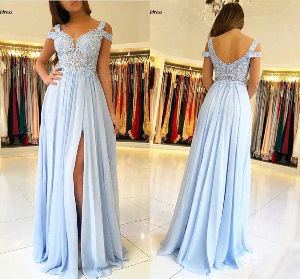 Robes de demoiselle d'honneur bleu ciel longue face fendue épaule dentelle Appliques robes de bal robes de mariée invité robes de demoiselle d'honneur