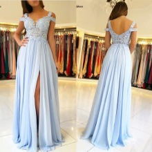 Sky Blue Bridesmaid Dresses Long Side Split Off Shoulder Lac