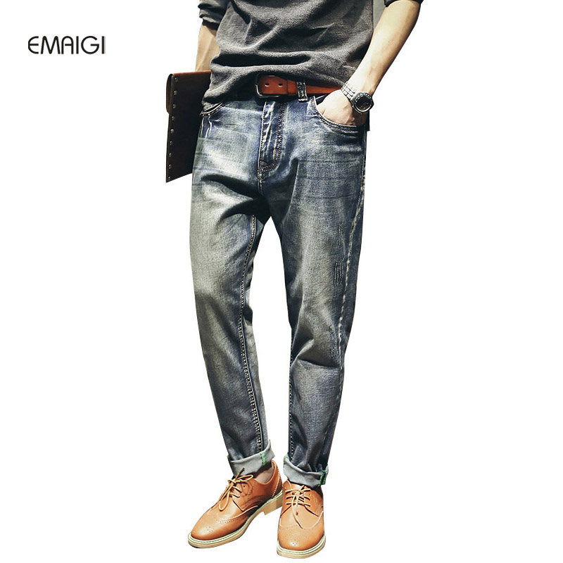 Large Size 28-42 Male Retro Ripped Jeans Men Fashion Casual Loose Denim Harem Pants Street Hiphop Jean Trousers large size 29 42 young men jeans hole patchwork denim harem pant male fashion casual denim pant trousers