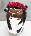 Lolita Red Rose Flower Headband Vintage Ribbon Goth Roses Hair Accessories