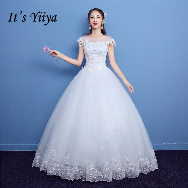 It\'s YiiYa Off White New O Neck Short Sleeve Wedding Frock Appliques ...