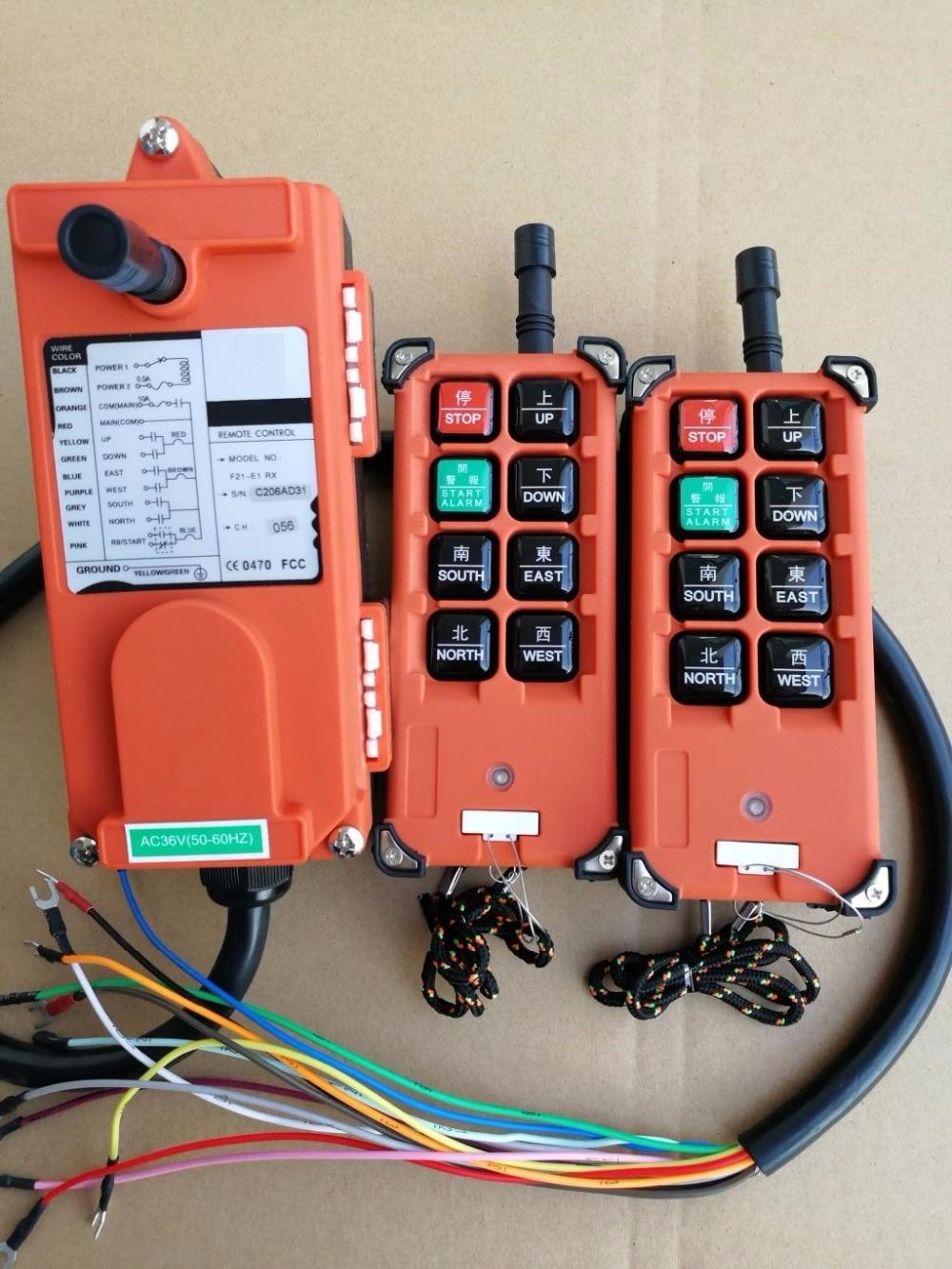 Free Shipping F21-E1B 36V 2PC transmitter 1PC receiver Motor control button Hoist crane remote control wireless radio Uting цена