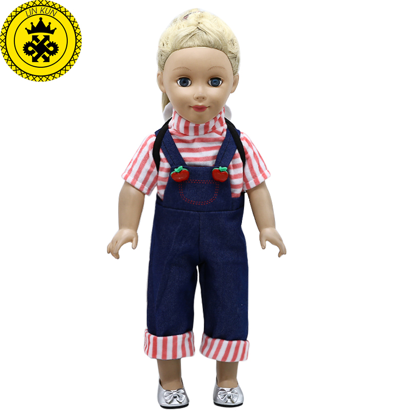 American Girl Doll Clothes Cute Backpack + Overalls Suit for 18 inch American Girl Doll Accessories Children's Day Gift 382 1pcs set winter dress for for american girl doll clothes for 18 inch doll christmas girl s gift aug 15