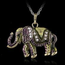 (Free chain 70-80cm) 1 pcs Fashion jewelry accessories bohemia long design vintage gem rhinestone elephant necklace pendant