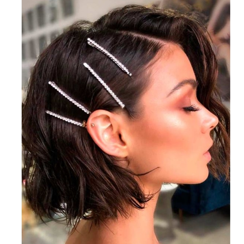 Za Pearl Crystal Hair Clips Women Sweet Imitation Korean Style Hairpins Headwear Metal Hairgrip Barrettes Girls Hair Accessories