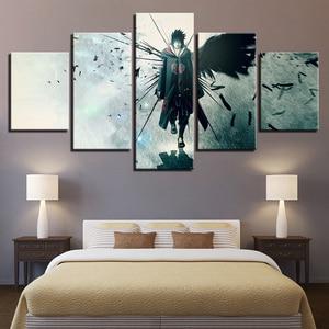 Canvas Poster Home Decor Modular Wall Art Framework 5 Pieces Naruto Anime Uchiha Sasuke Paintings Living Room HD Prints Pictures(China)