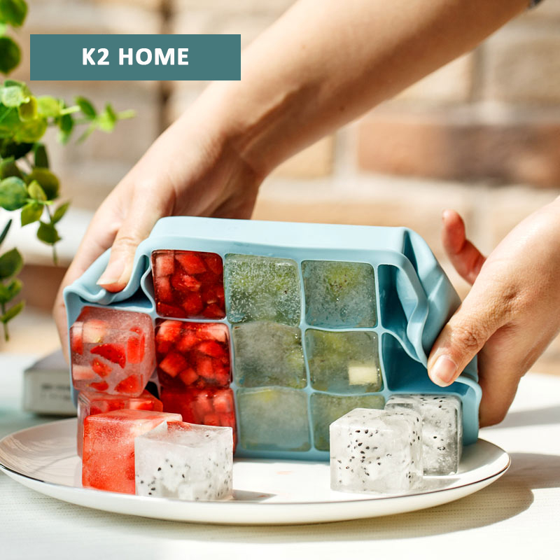 Silicone Ice Mold Maker Durable for Large Cube Tray High Level Making Molds Blue
