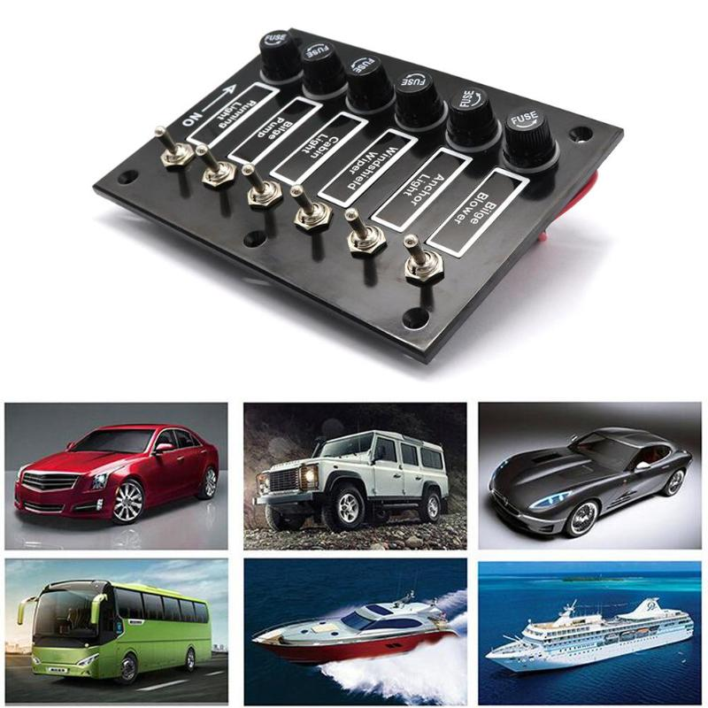 Vodool 6 Gang DC 12V/24V Fused ON/OFF Toggle Switch Panel for Marine Boat Caravan RV With 6 Screws Car Accessories 12v 24v 8gang on off rock switch panel for boat marine rv yacht ship automotive toggle switches red led
