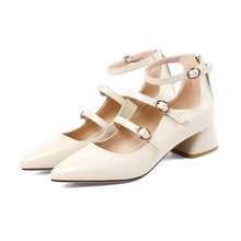New Style Of Pointed Shallow-mouthed Roman Womens Shoes Medium Heel Leather Skirt Banquet In Spring  Summer
