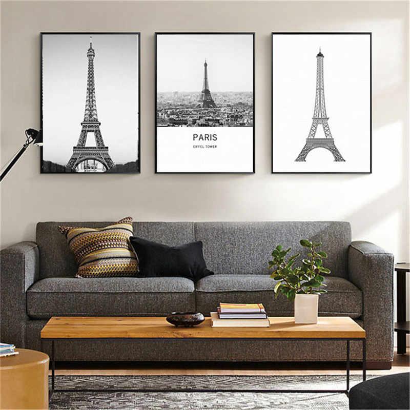 HAOCHU hogar Oficina Decoración pintura París torre de hierro telón de fondo Soaf pared arte cartel lienzo Mural salón dormitorio pasillo