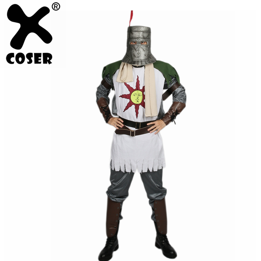 XCOSER Dark Souls Solaire Cosplay Outfit Forever Sun Warrior Full Suit High Quality Halloween Cosplay Carnival Costume For Men