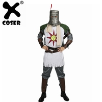 XCOSER Solaire Cosplay Costume Dark Souls Outfit Forever Sun Warrior Full Suit Halloween Cosplay Carnival Costume For Men Adult