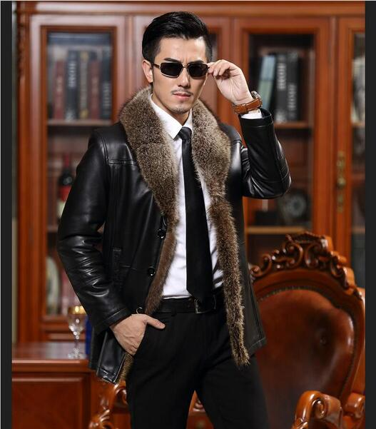2017 Men's Genuine Leather coats Wool Collar Sheep  jackets winter men sheepskin leather coat High quality Plus Size M-5XL