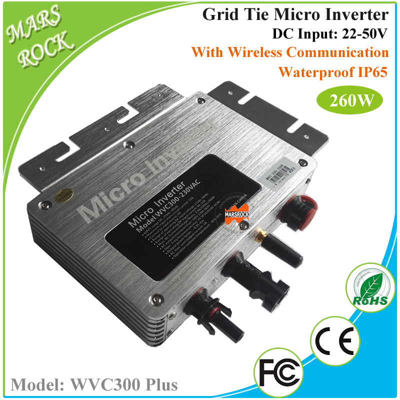 22-50V DC to AC 80-160V or 180-260V 260W Waterproof Grid Tie Micro Inverter with 433/462MHz Wireless Communication for Home Use solar micro inverters ip65 waterproof dc22 50v input to ac output 80 160v 180 260v 300w