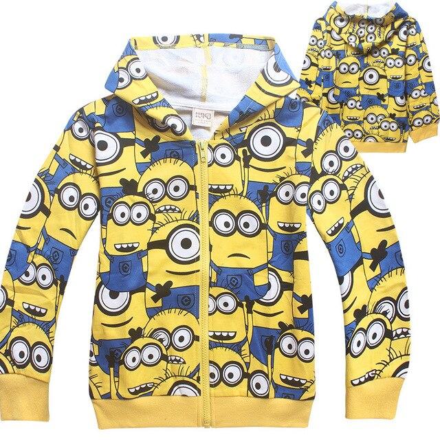 2016 Миньоны мальчики одежды девушки футболки для детей одежда малышей детей Весна толстовки костюм толстовки мультфильм пальто