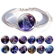 12 Zodiac Signs Bracelet Glass Cabochon Silver Charm Fashion Accessories for Women Birthday Gift