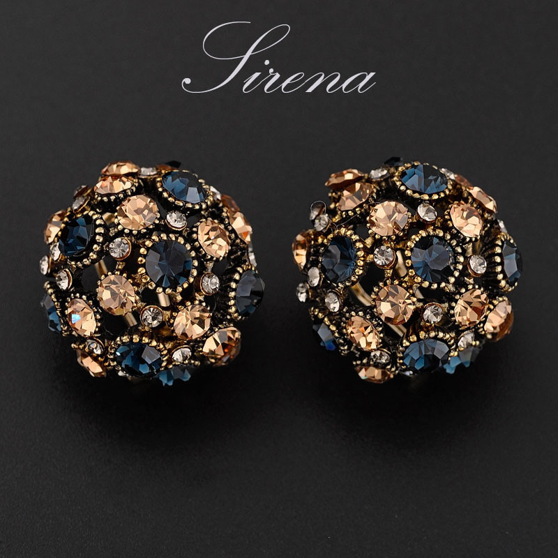 EC110 Luxury Big Ethic Bohemian Austrian CZ Crystal Rhinestone Balls Vintage Gold Stud Earrings Prom Jewelry Gift - SIRENA store