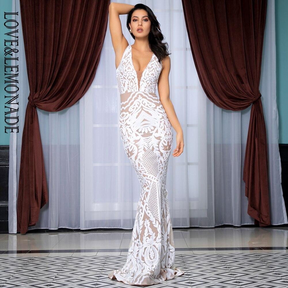 Love Lemonade Deep V Neck Geometric Sequins Mesh Lining Sleeveless Long Dress LM81336 WHITE