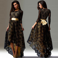 New Lace Asymmetrical And Swallow Tail Slimming Round Collar High Waistline Female Dresses