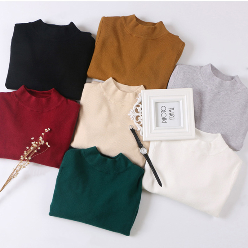 Soft Warm White Knitting Women Sweaters Pullovers Long Sleeve Solid Color Slim Casual Lady Basic Knitted Sweater Winter New