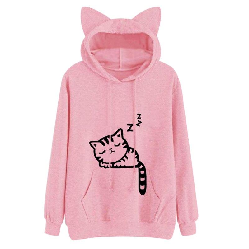 2018 Kawaii Cat Ear Con Cappuccio da Donna Cute Cartoon Sleeping Cat Stampa Felpa Con Cappuccio Allentato Casuale Pullover Tuta Tuta Sportiva