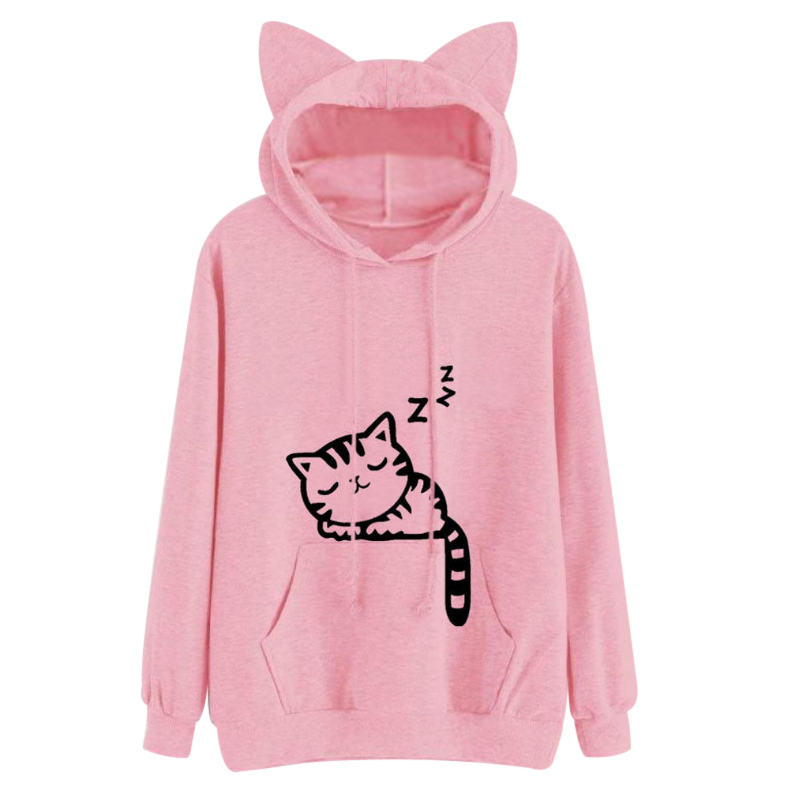 2018 Kawaii Cat Ear Hoodies Women Cute Cartoon Sleeping Cat Print Hooded Sweatshirt Casual Loose Pullover Tracksuit Outerwear