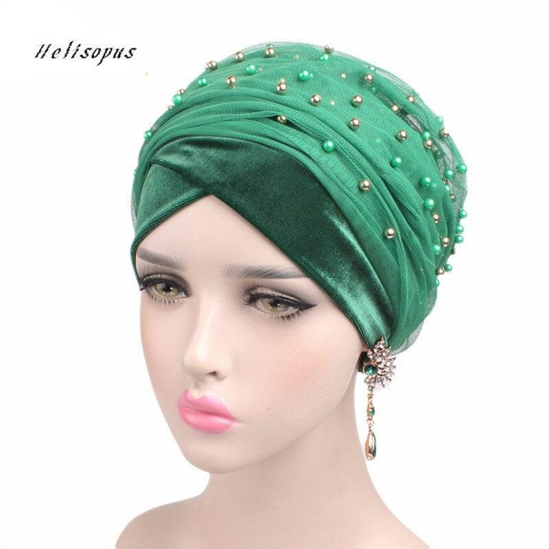 Helisopus Women's New Luxury Velvet Mesh Beaded Cap Women Hair Accessories Chemo Bandana Ladies   Headwear   Beanie Hijab Turban
