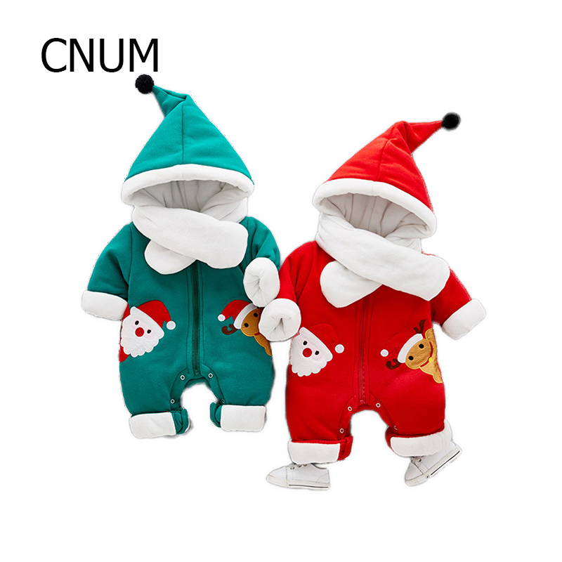 CNUM 0-2 Years Newborn Baby Rompers Christmas Hoodied Down Coats Winter Cotton Warm Infant Baby Girls Clothing Boy Clothes warm thicken baby rompers long sleeve organic cotton autumn