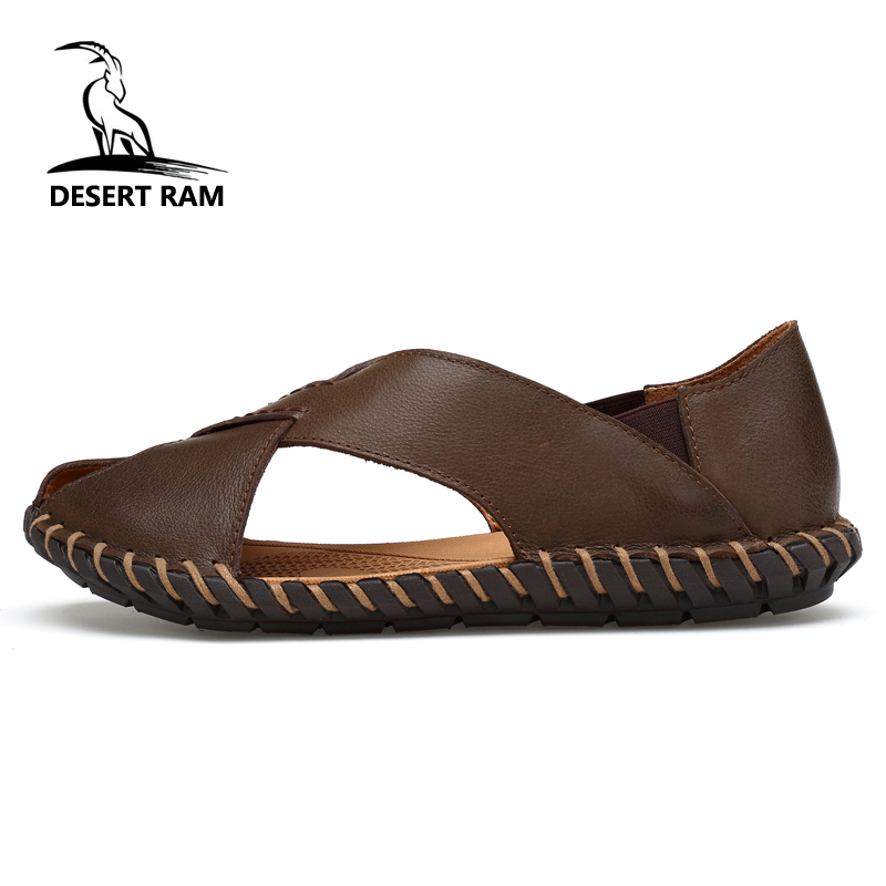 DESERT RAM Brand Genuine Leather Sandals Big Size Fashion Sandalias Casual Shoes Men Band Slides Top Summer Black Beach Slippers