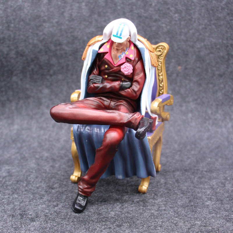 16cm Anime ONE PIECE Senior General Action Figure Sakazuki Sitting Ver Chair Model Red Clothes Collection PVC 6.3 Gift Doll