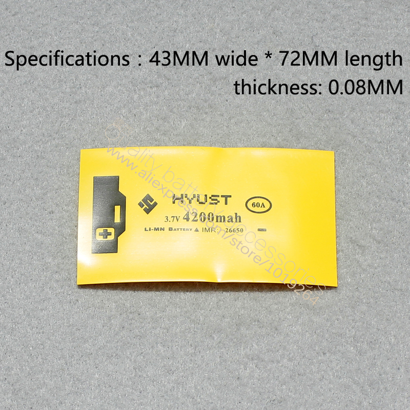 50pcs lot 26650 lithium battery PVC heat shrinkable tube insulation shrink film 4200MAH capacity battery cell single casing in Batteries from Consumer Electronics