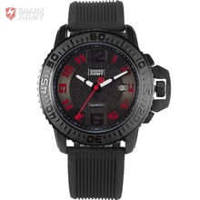Voodoo II Shark Army Auto Date Black Red Silicone Strap Military Relogio Masculino Clock Men Quartz Sports Wrist Watches /SAW179
