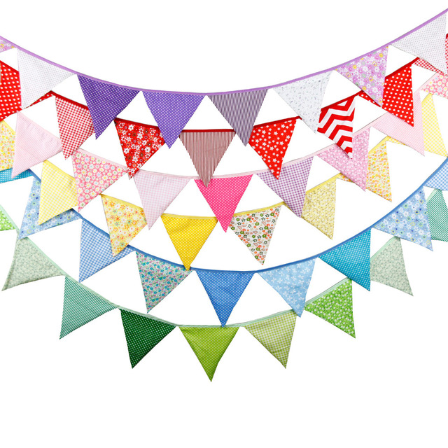 20+ colours 12 Flags - 3.2M Cotton Fabric Cloth Banners Wedding Bunting Decor Birthday Party Baby Shower Garland Tent Decoration