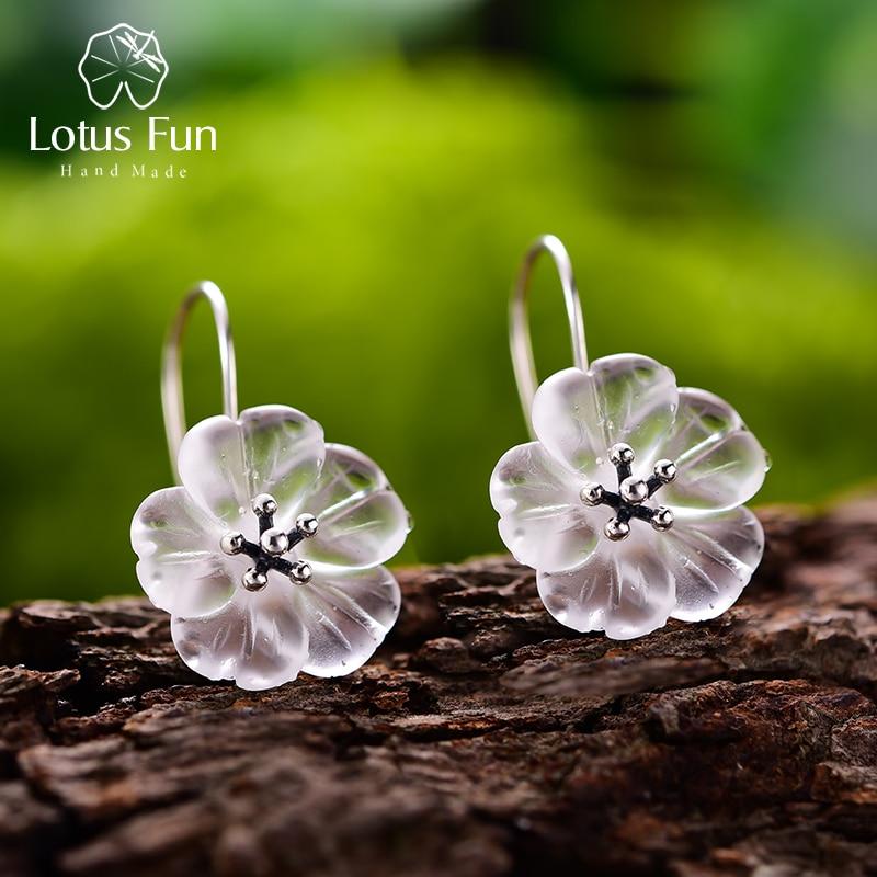 Lotus Fun Real 925 Sterling Silver Earrings Handmade Designer Fine Jewelry Flower in the Rain Fashion Dangle Earrings for Women