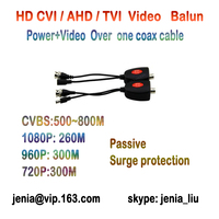 One Pair HD TVI AHD CVI Analog CCTV 1ch Video Power Extender Over Coax Converter 500M