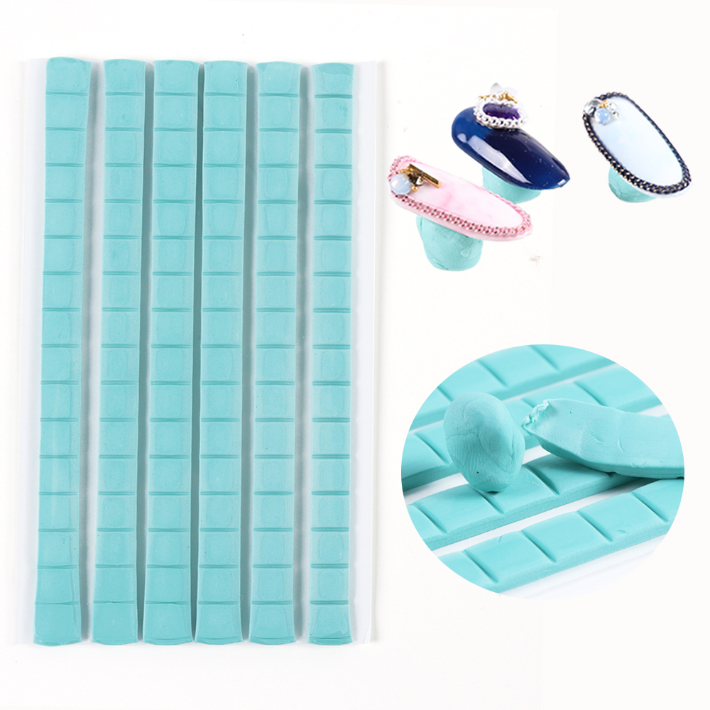 80pcs Light Blue Clay Stick Removable Glue Clay Mud For Nail False Tips Display Holder Practice Tool Manicure Accessories TR907