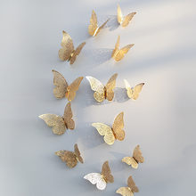 12 Pcs Butterfly Wall Stickers 3D Hollow Butterfly Wall Decals Fridge Stickers Hot Sale Wedding Decoration accessories(China)