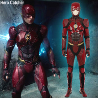 Герой Catcher Высокое качество Красный флэш костюм Лига Справедливости Косплэй костюм Новый флэш костюм в кожа индивидуальный заказ флэш кост