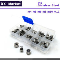 M4 M5 M6 M8 M10 M12 6size Each 10pcs 316 Stainless Steel Self Lock Hex Nuts