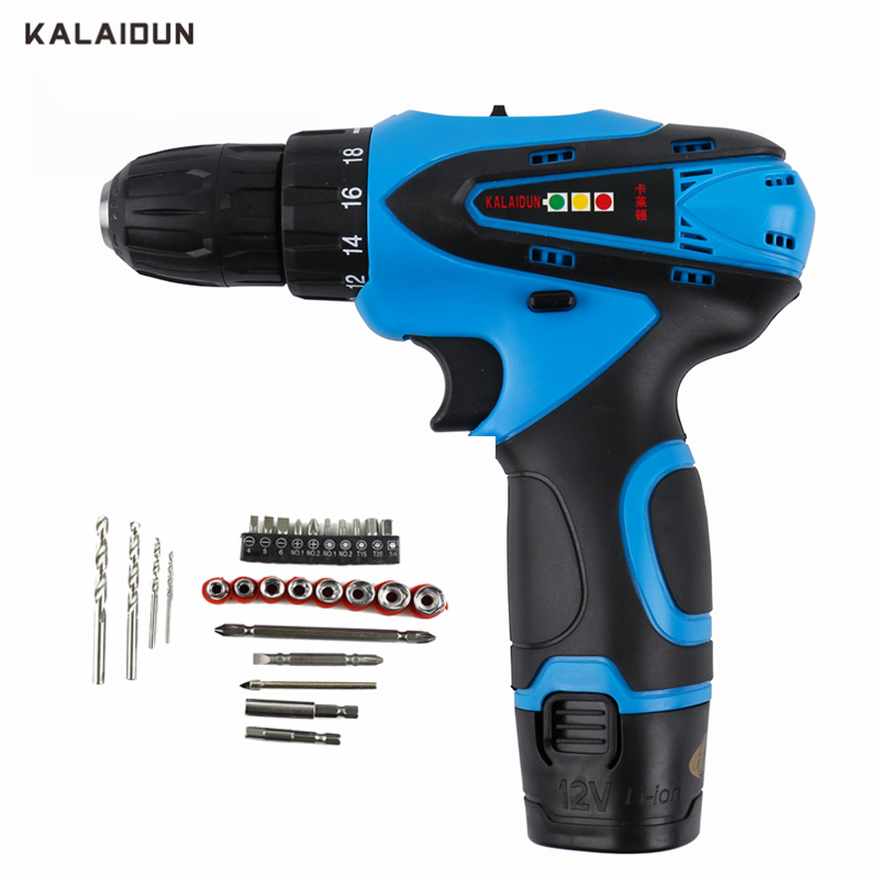 KALAIDUN 12V Electric Screwdriver Power Tools Mini Electric Drill Lithium Battery Cordless Drill Hand Tools With 27pcs Bit wosai 12v lithium battery electric drill bit two speed electric cordless drill mini screwdriver hand drill electric power tools