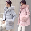 2016 New Winter Coat Women Jacket Thicken Fur Collar Hooded Women's Long Down Coat Fashion Brand Warm Cotton Jacket Parka A2023
