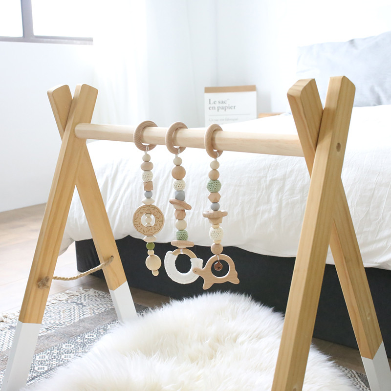 1 ensemble bébé hochet Mobile berceau Silicone perles hêtre bois beignet dentition bricolage à la main infantile lit poussette suspendus décor avec support