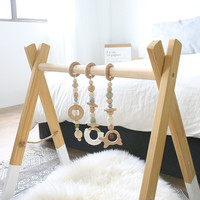1Set Baby Rattle Mobile Crib Silicone Beads Beech Wood Donut Teether DIY Handmade Infant Bed Stroller Hanging Decor With Holder