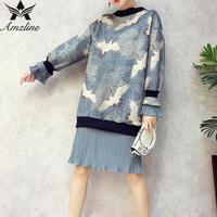 Amzline Crane Printted Women Dress Autumn Winter Pullover Ruffles 2017 Casual Oversized Dress Women Flare Sleeve