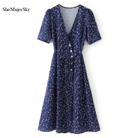 SheMujerSky Wrap Dress Blue Womens Summer Dresses 2017 Summer Dot Printing Lace Up Beach Causul Vestido
