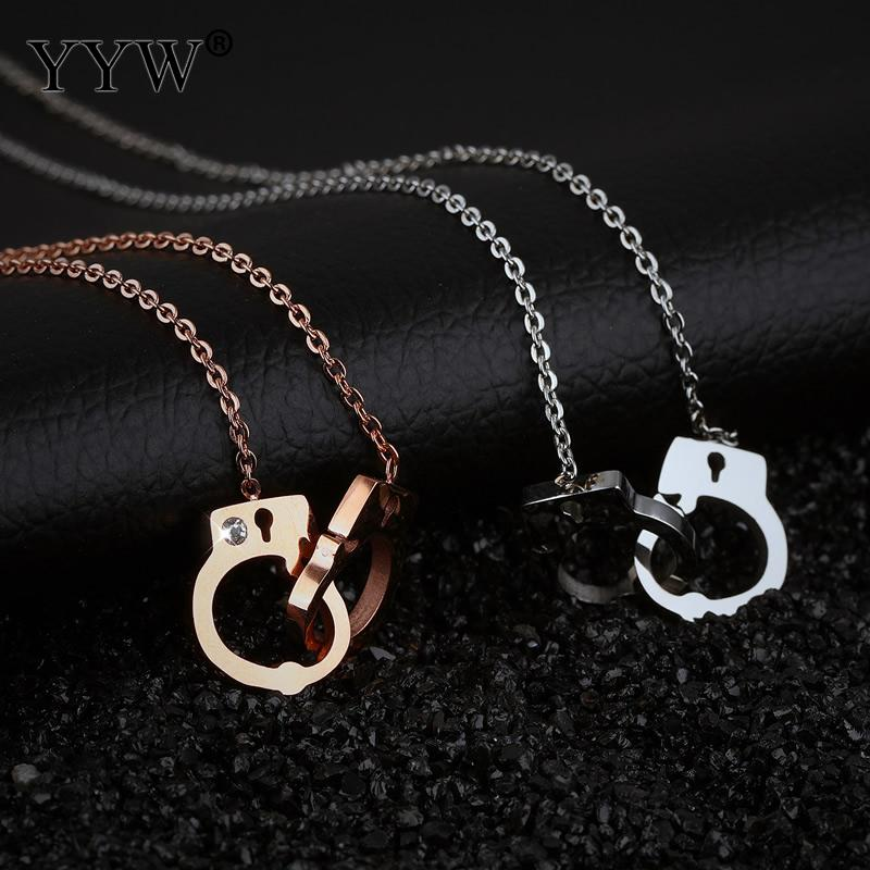 Stainless Steel Handcuff Necklace Pendants Gold & Silver Charms Collar Choker Necklace For Women Jewelry Gifts DIY