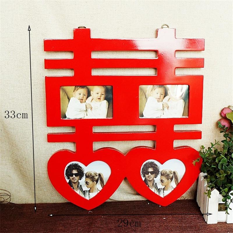 Estilo chino rojo madera maciza Marcos boda imágenes pareja Marcos s ...