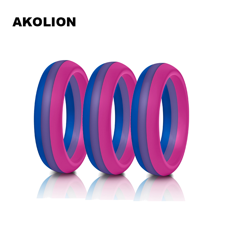 3pcs a lot Woman <font><b>Bisexual</b></font> Pride <font><b>Ring</b></font> New Silicone Wedding Round Solid Environmental Cool Comfortable <font><b>Rings</b></font> SR-0001 image