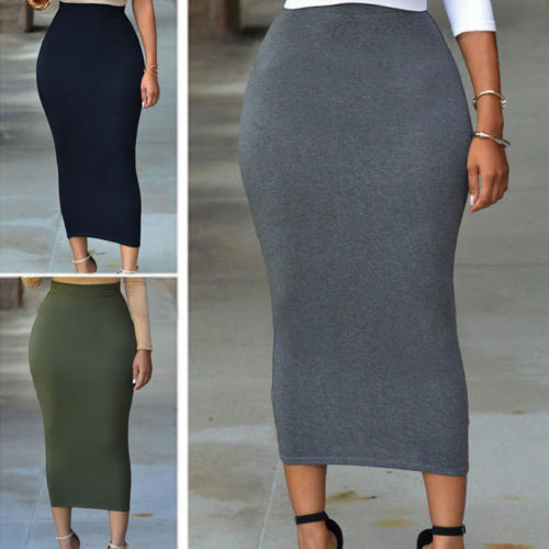 Hirigin Women High Waist Straight Stretch Pencil Midi Skirt Long Skirt Size S To XXL