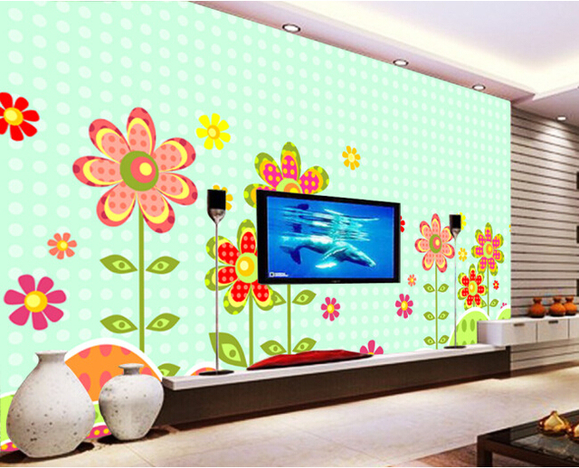 Papel personalizado de pared infantil, pequeña Flor rota hermosos ...